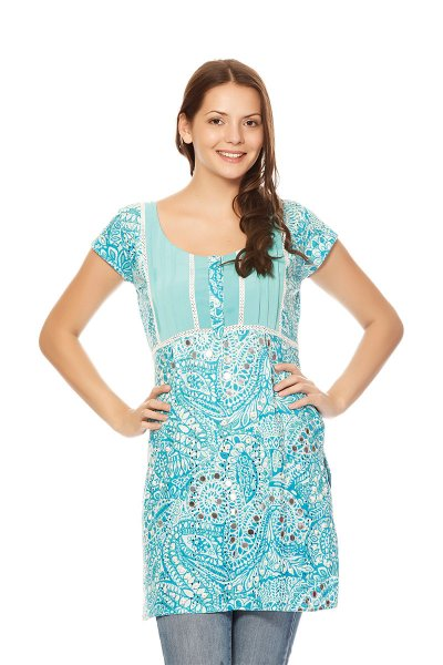DS Sky Blue Cotton Fashionable Straight Kurti