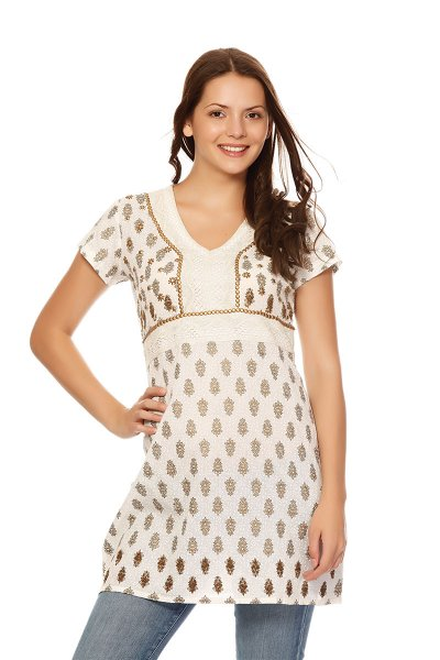 DS White Cotton Beautiful Straight Kurti