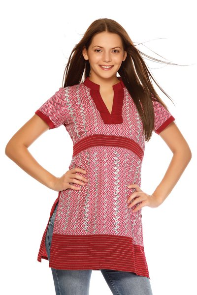 DS Red Cotton Printed Modern Kurti