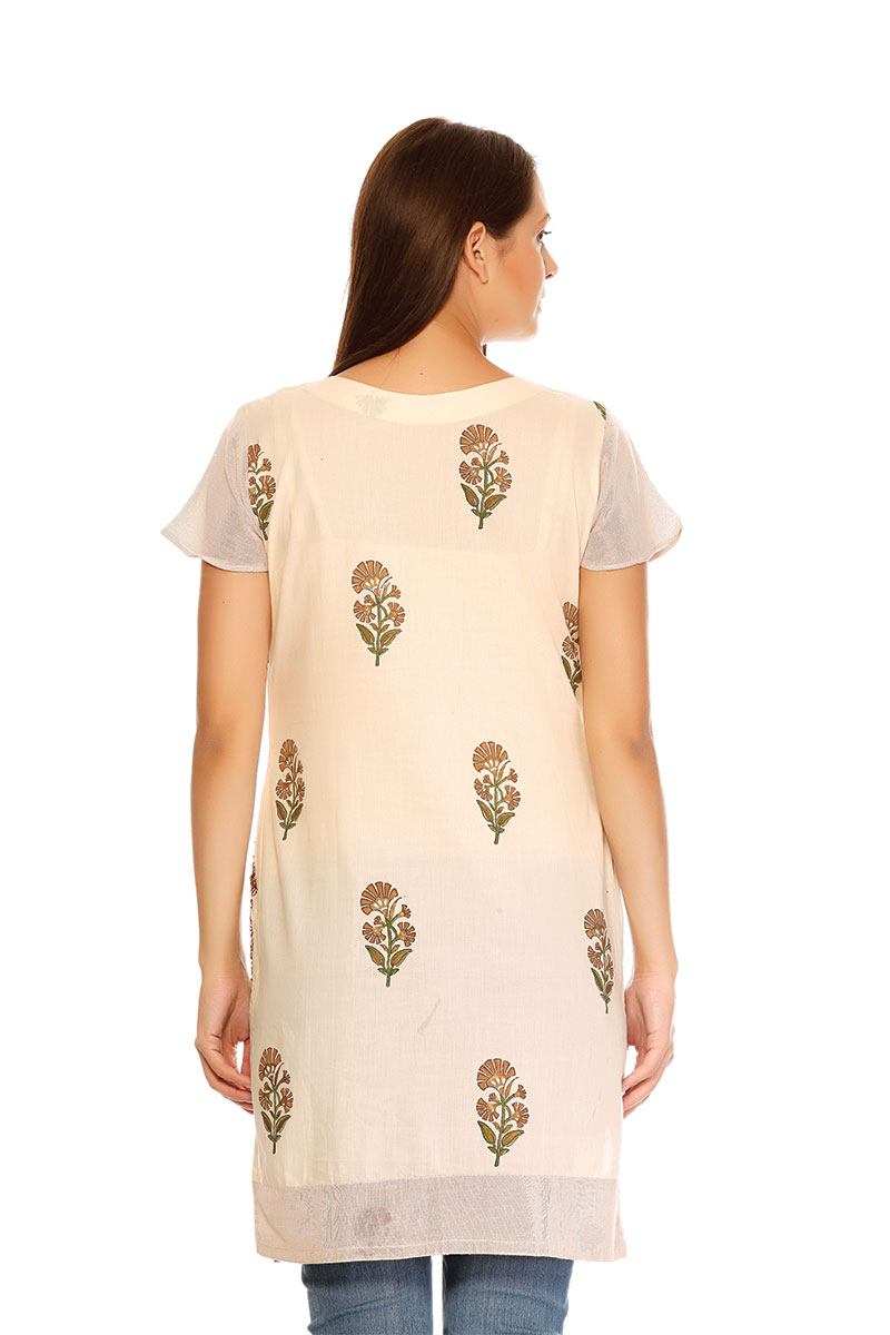 DS Cream Cotton Print Stylish Straight Kurti