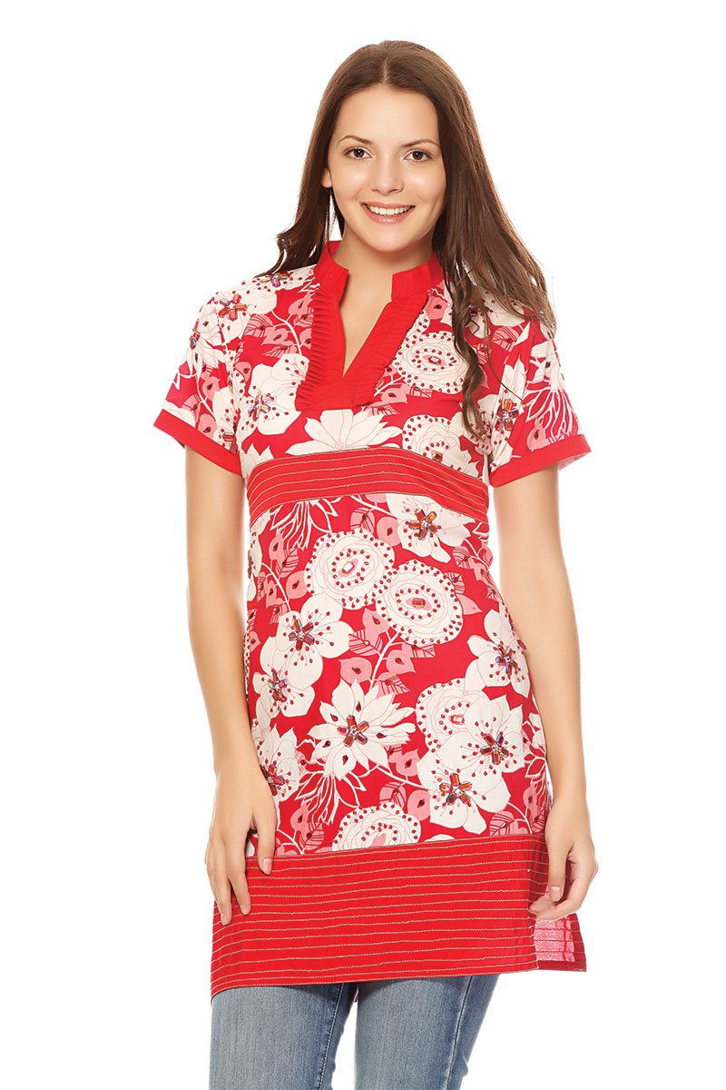DS Red Floral Latest Fashionable Kurti
