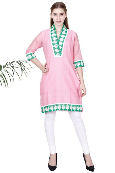 DS Pink New Design Embroidered Straight Kurta