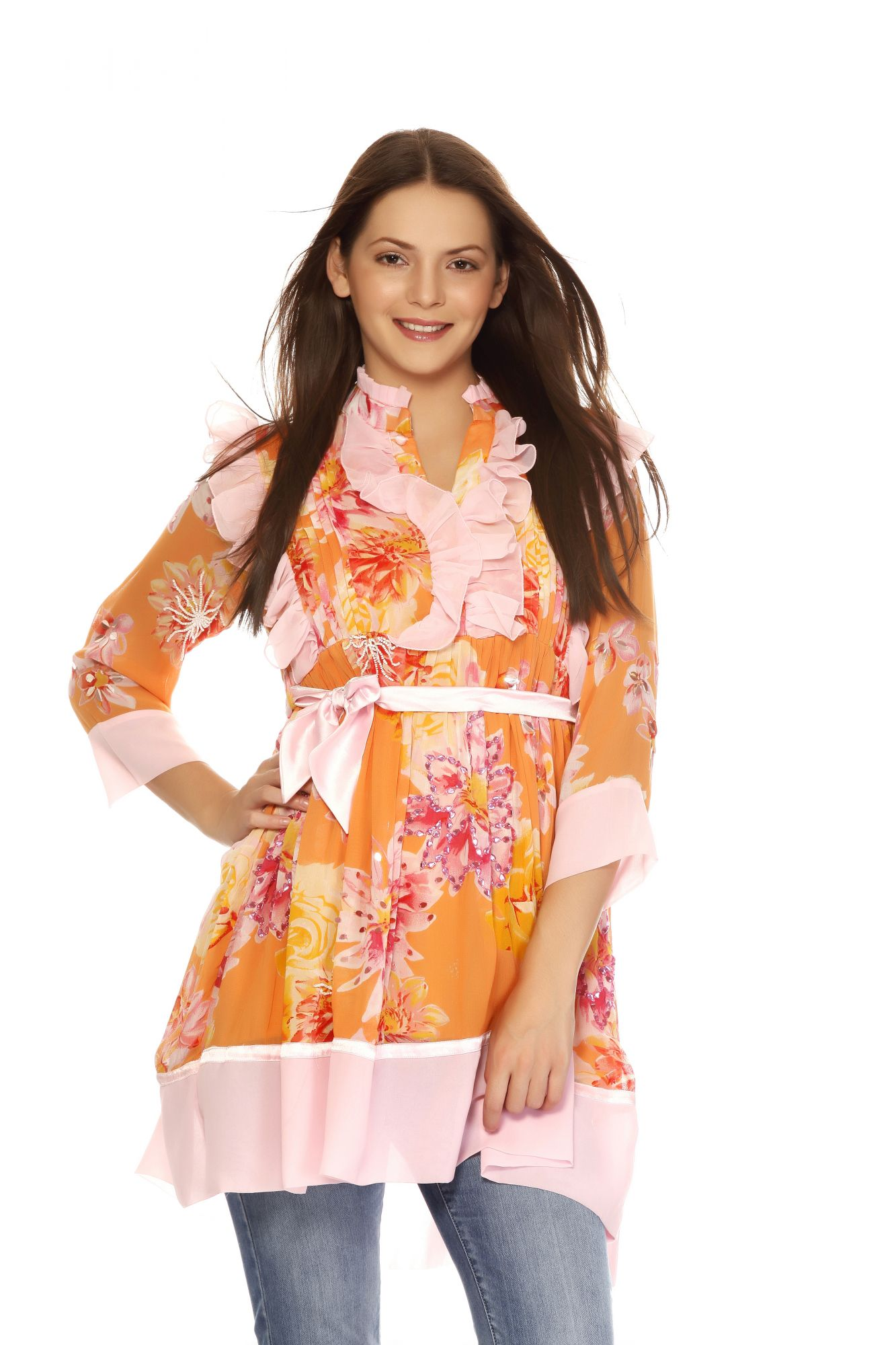 DS Orange Gorgeous 3/4 Sleeves Stylish Kurti