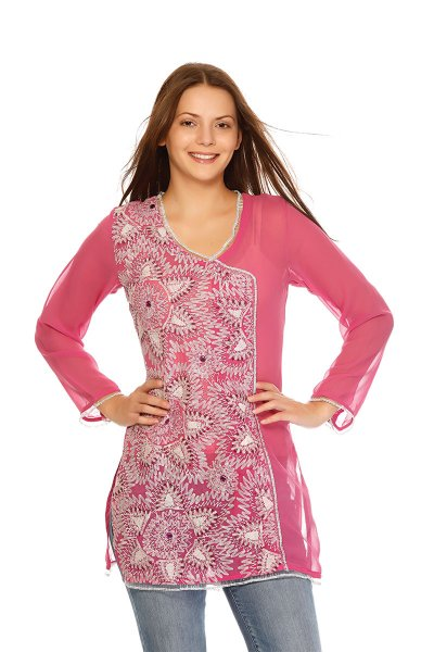 DS Pink Georgette Fabric Asymmetric Neckline Design Kurti