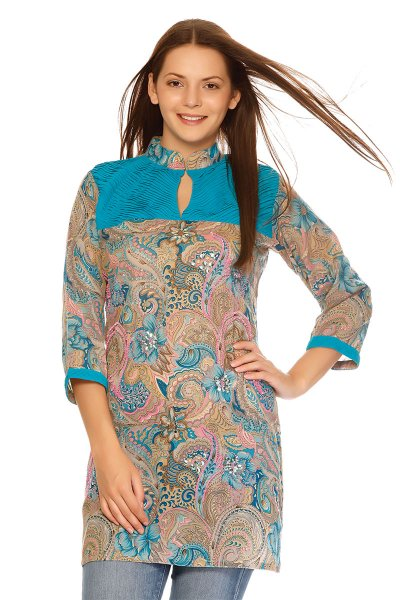 DS Multi Georgette Keyhole Neckline Beautiful Kurti