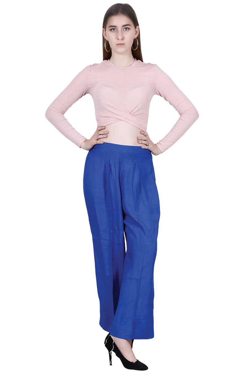 DS Blue Solid Fashionable Ankle Length Pants