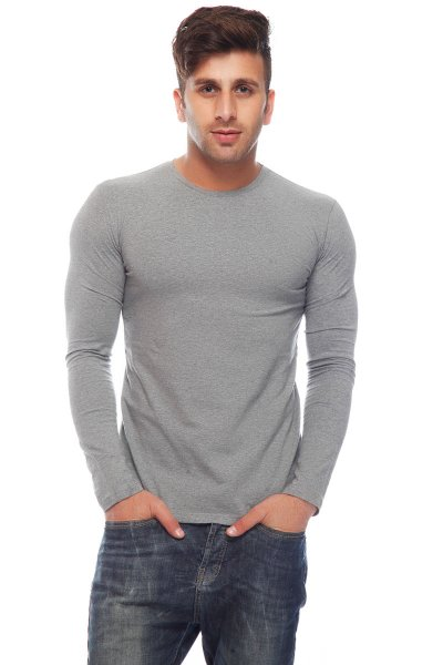 DS Grey Cotton Lycra Slim Fit Fashionable T-shirt
