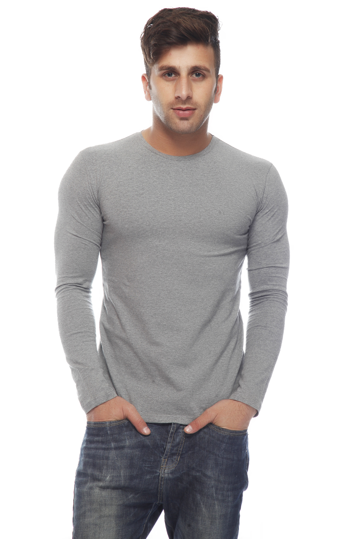 DS Grey Cotton Full Sleeves Regular Fit Polo T-shirt