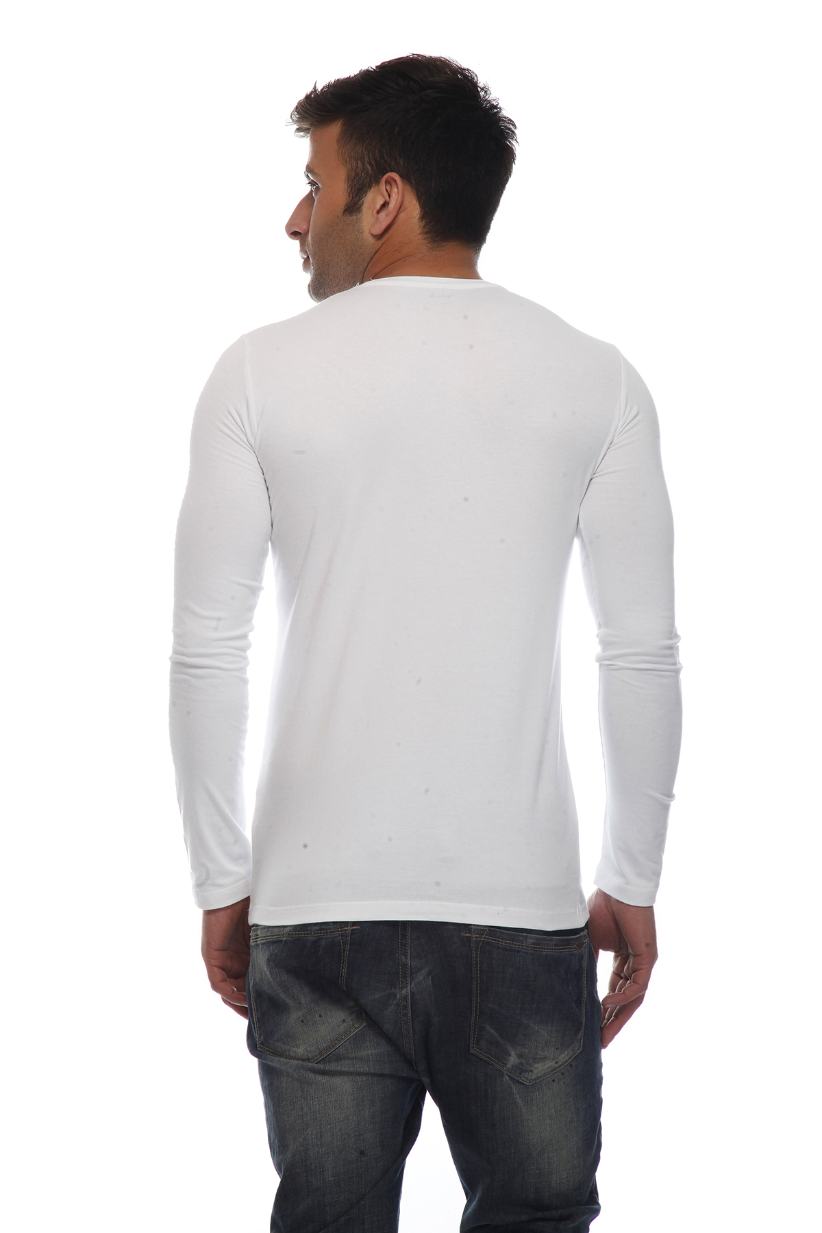 DS White Cotton Lycra Full Sleeves Regular Fit Polo T-shirt