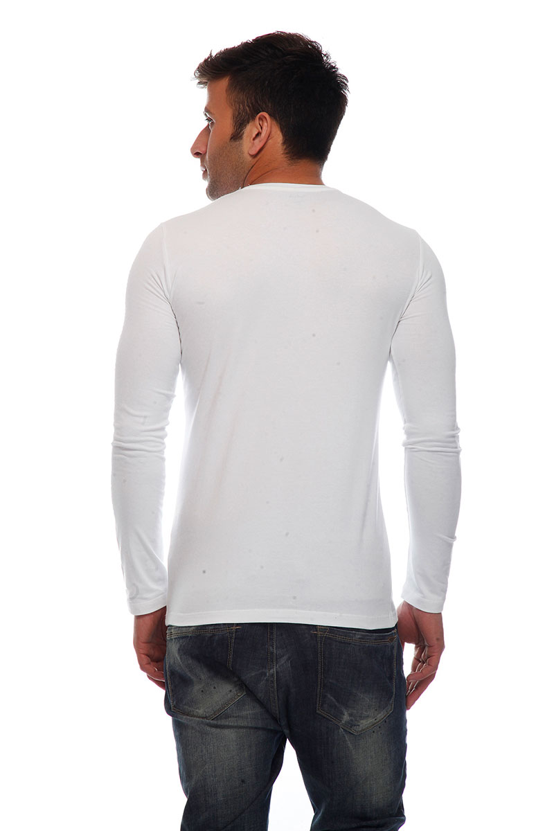DS White Cotton Lycra Regular Fit Fashionable T-shirt