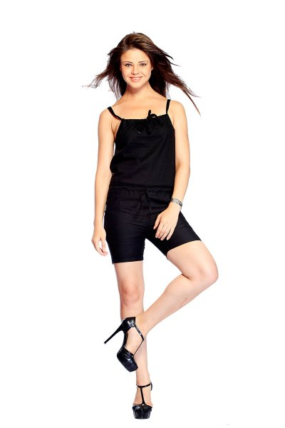 DS Solid Black Cotton Attractive Straps Jumpsuit