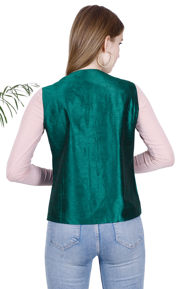 DS Solid Green Stylish Straight Vest Jacket