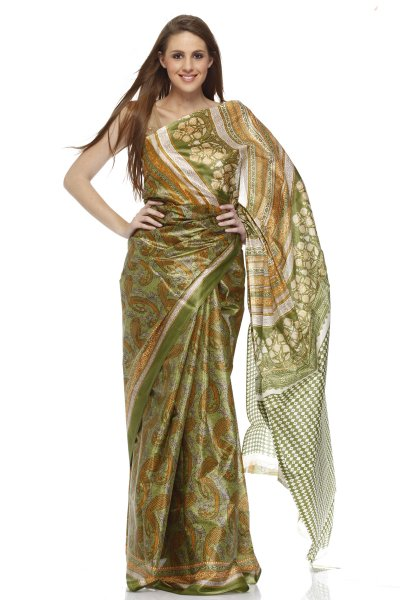 DS Green Multi Cotton Silk Printed Stylish Saree With Blouse Piece