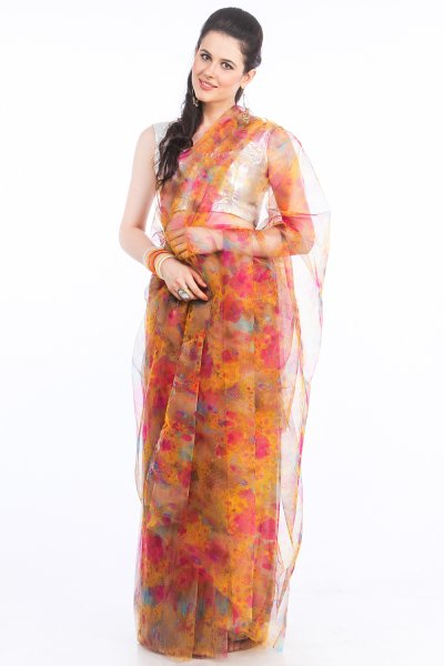 DS Pink & Multi Net Fabric Floral Print Fashionable Saree