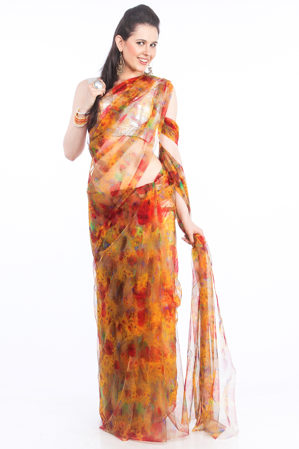 DS Orange & Multi Net Fabric Floral Print Fashionable Saree