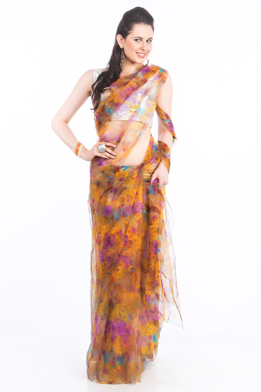 DS  Yellow & Purple  Net Fabric Floral Print Fashionable Saree