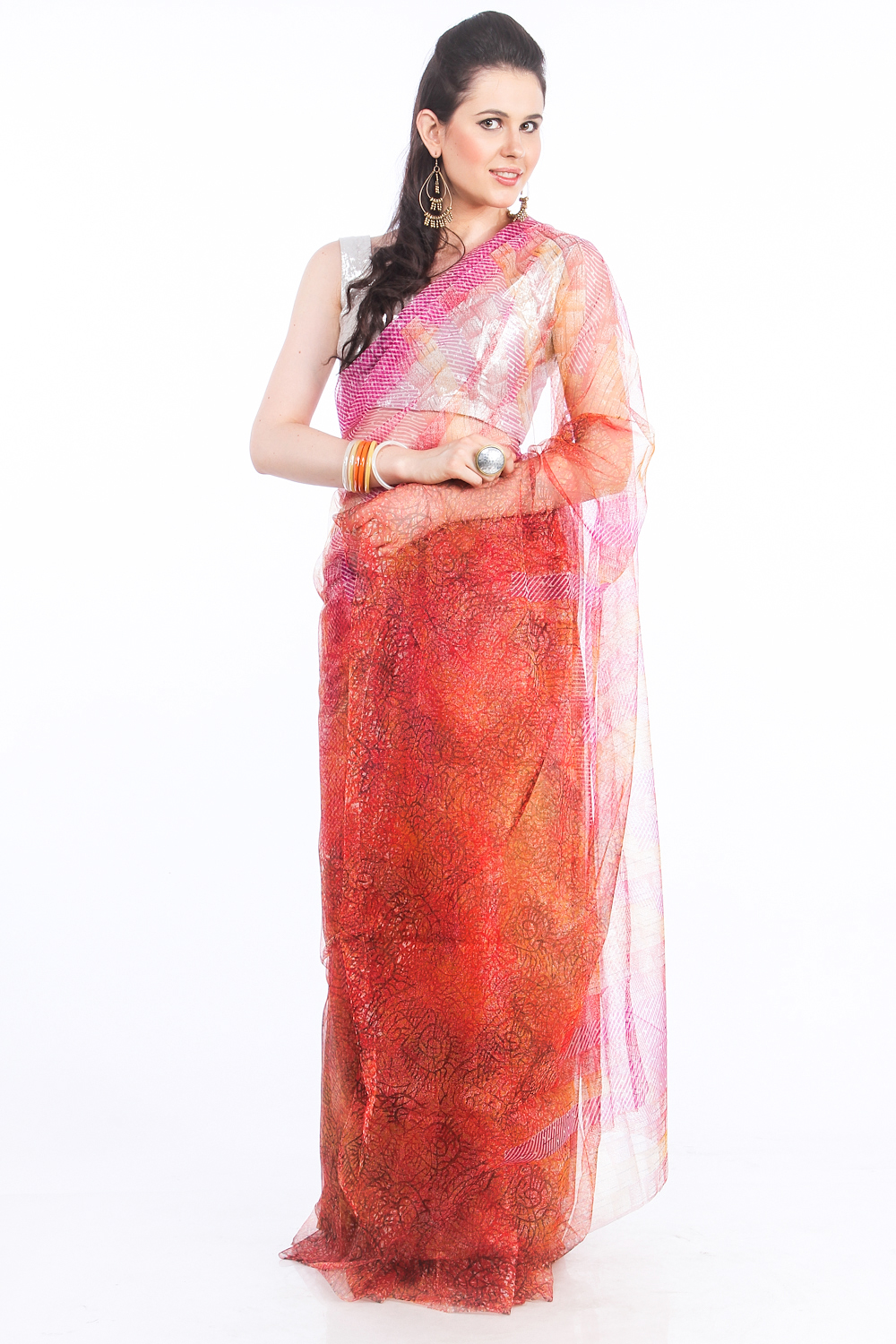 DS Red Net Fabric Floral Print Fashionable Saree