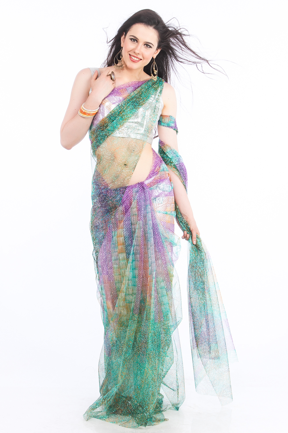 DS Green & Purple Net Fabric Floral Print Fashionable Saree