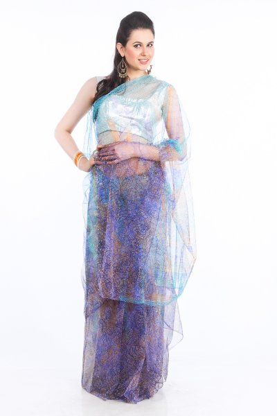 DS Blue & Green Net Fabric Floral Print Fashionable Saree