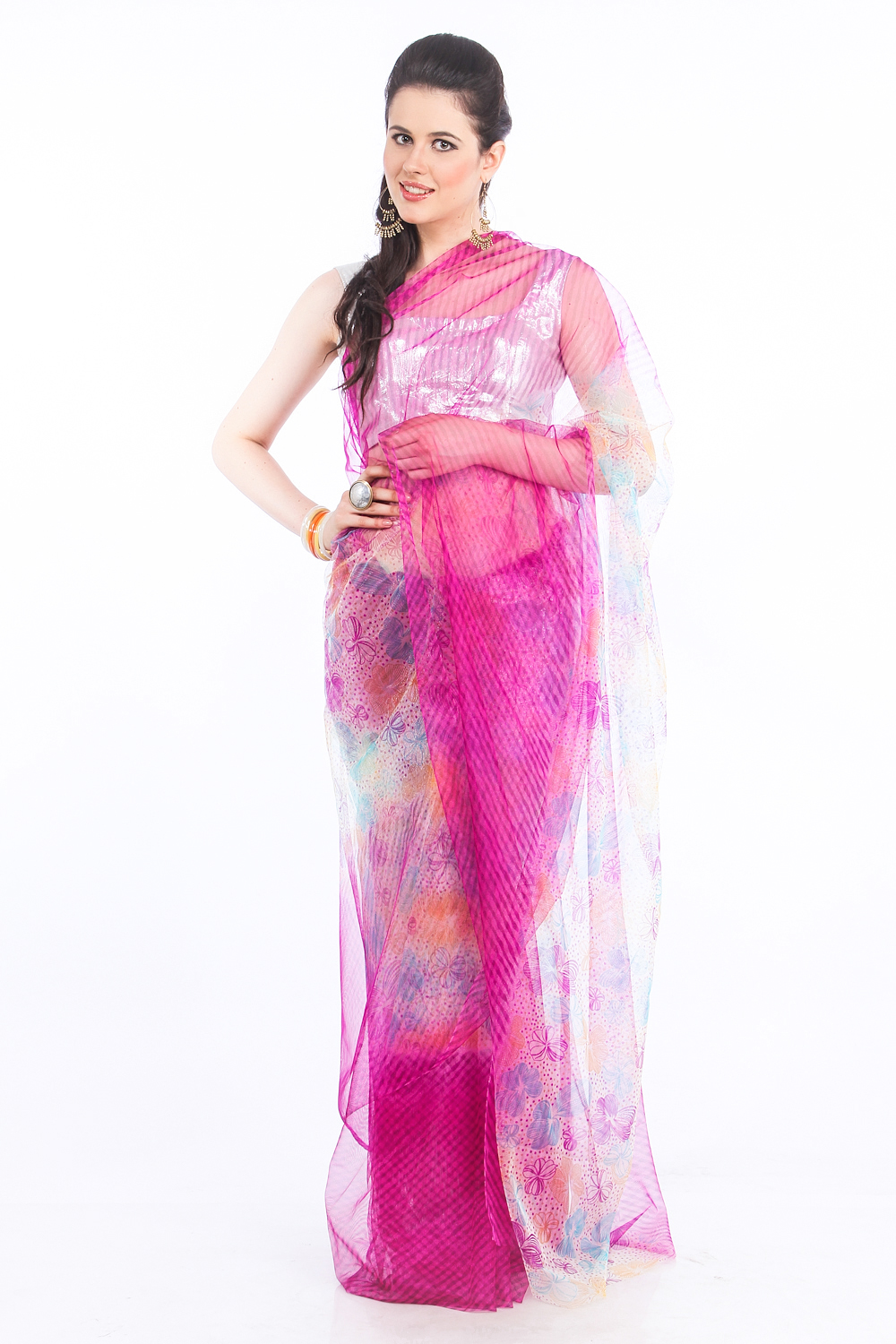DS Pink Net Fabric Floral Print Fashionable Saree