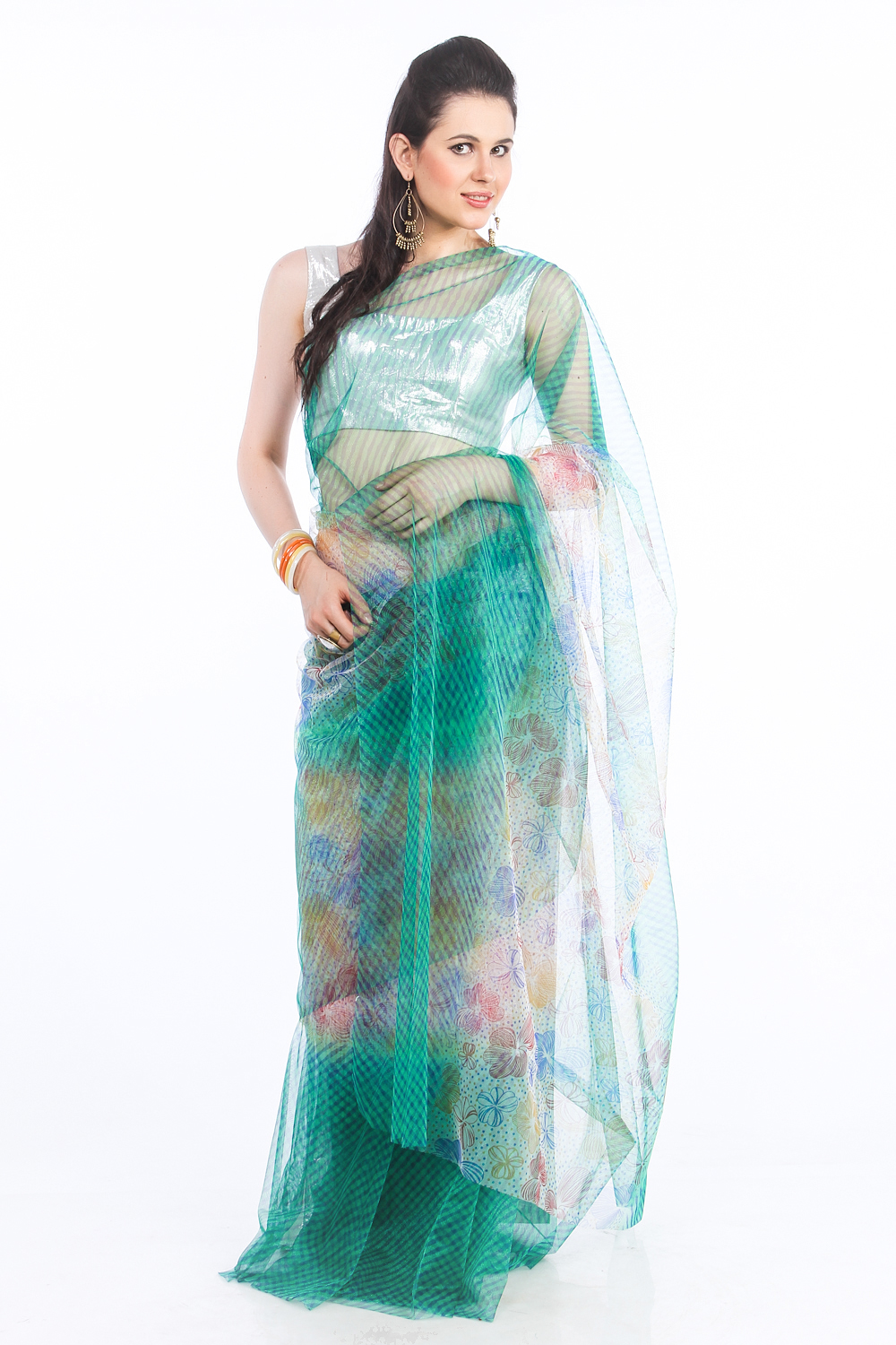 DS Green Net Fabric Floral Print Fashionable Saree