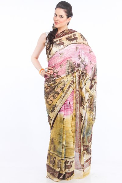 DS Cream & Pink Georgette Fabric Paisley Printed Saree With Blouse Piece