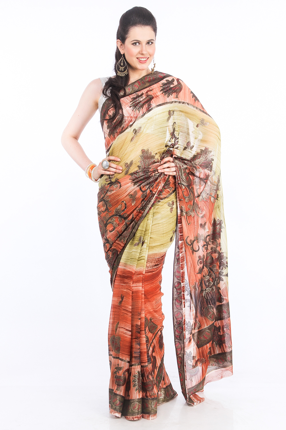 DS Yellow & Peach Georgette Fabric Paisley Printed Saree With Blouse Piece