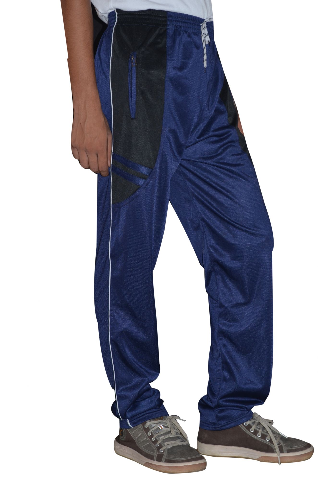 DS Blue Polyester Stretchable Trackpant