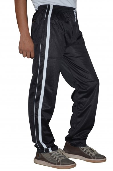 DS Black Polyester White Stripe Stylish Trackpant