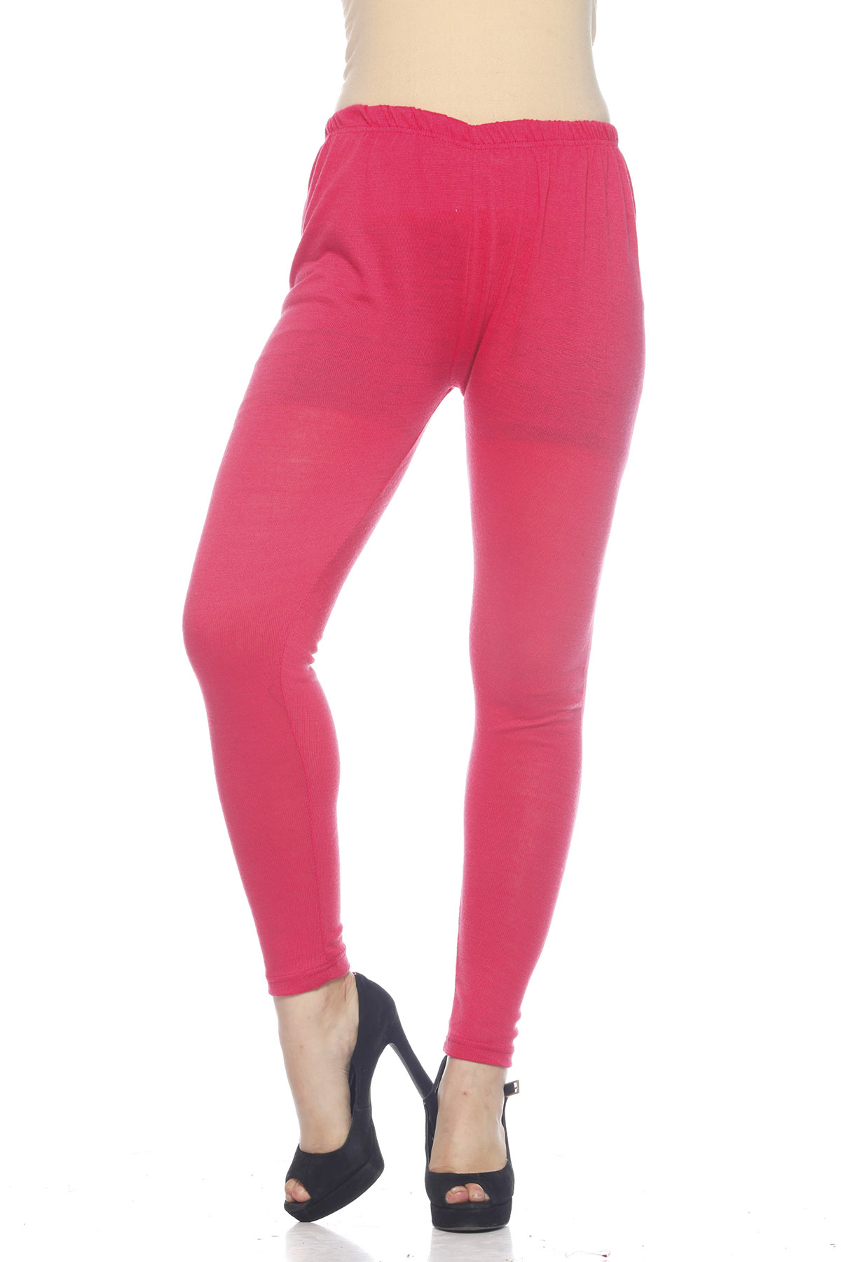 DS Pink Premium Soft Stretchable Free Size Woolen Leggings