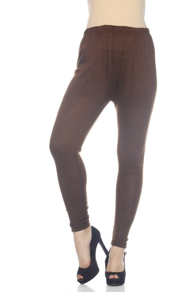 Brown Woolen Stylish Regular Fit Legging for Women