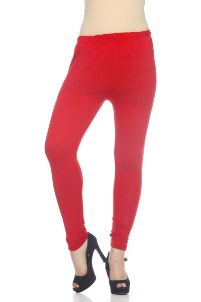 Red Woolen Regular Fit Legging for Women