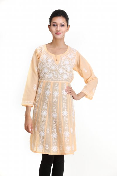 DS Solid Orange Cotton Kalidar Style Kurti