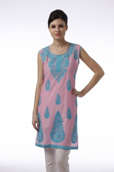 DS Pink & Turk Cotton New Design Kurti