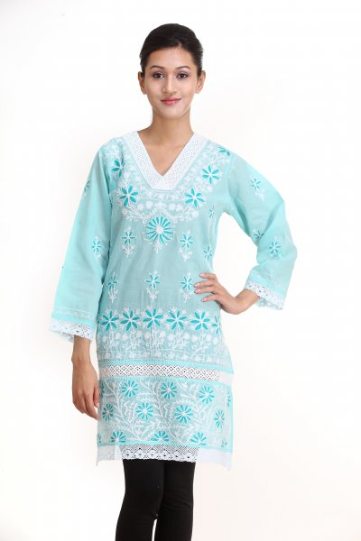 DS Solid Blue Cotton New Design Kurti