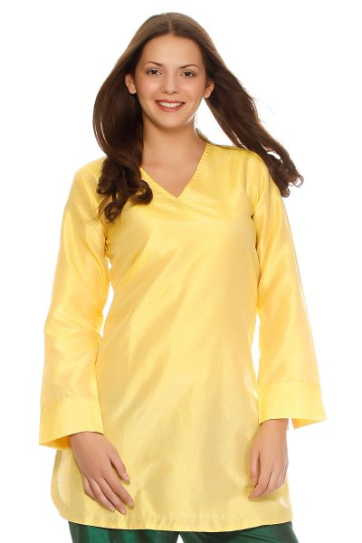 DS Yellow Silk Fashionable Regular Straight Kurti