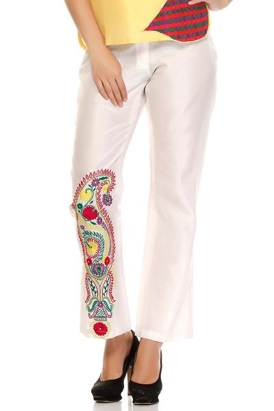 DS White Silk Fashionable Casual Pants