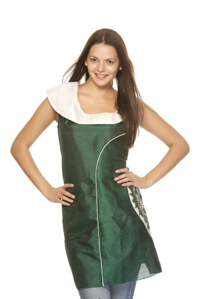 DS Green & White Stylish One Shoulder Neckline Kurti