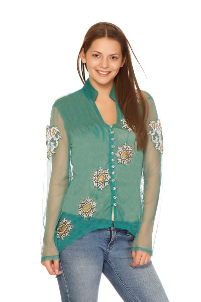DS Green Crepe Fashionable and Shirt Style Top