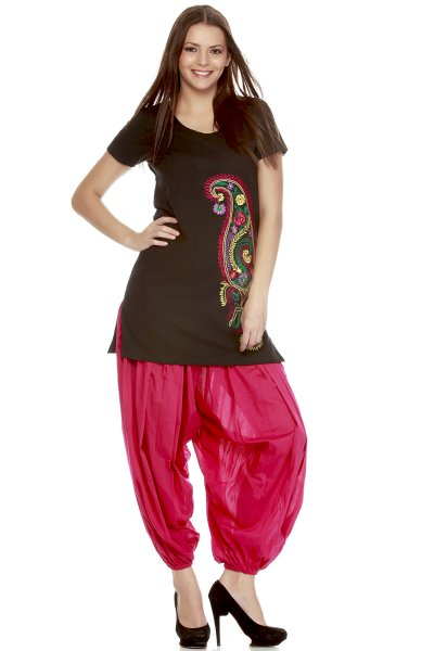 DS Black & Pink  Chikan Embroidery Trendy Short Length Kurti
