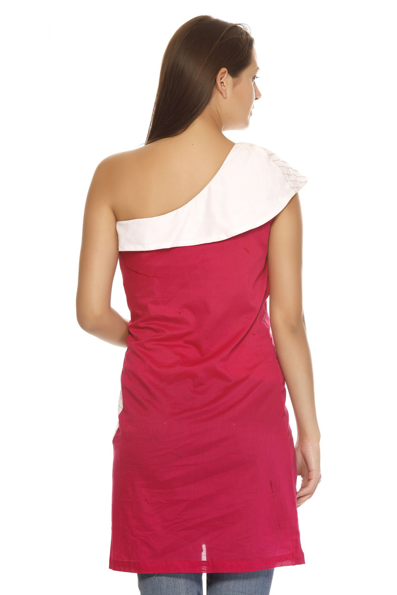 DS Pink & White Stylish One Shoulder Neckline Kurti