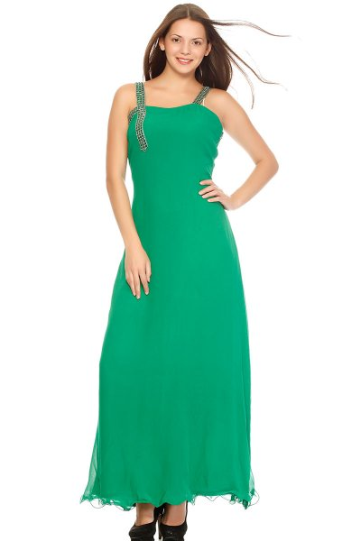 DS Green Georgette Fashionable Fit and  A-line Dress