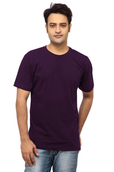 DS Dark Purple Cotton Stylish Slim Fit Round Neck T-shirt