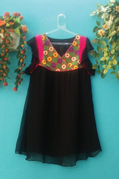 DS Black Georgette Chikan Embroidery Latest Kurti