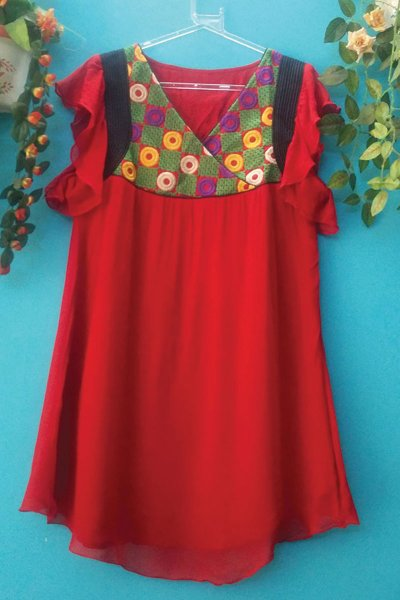 DS Maroon Georgette Embroidery Medium Length Kurti