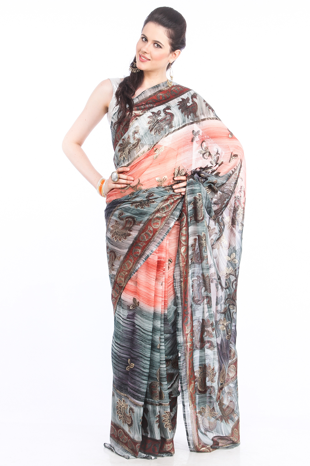 DS Peach & Grey Georgette Fabric Paisley Printed Saree With Blouse Piece
