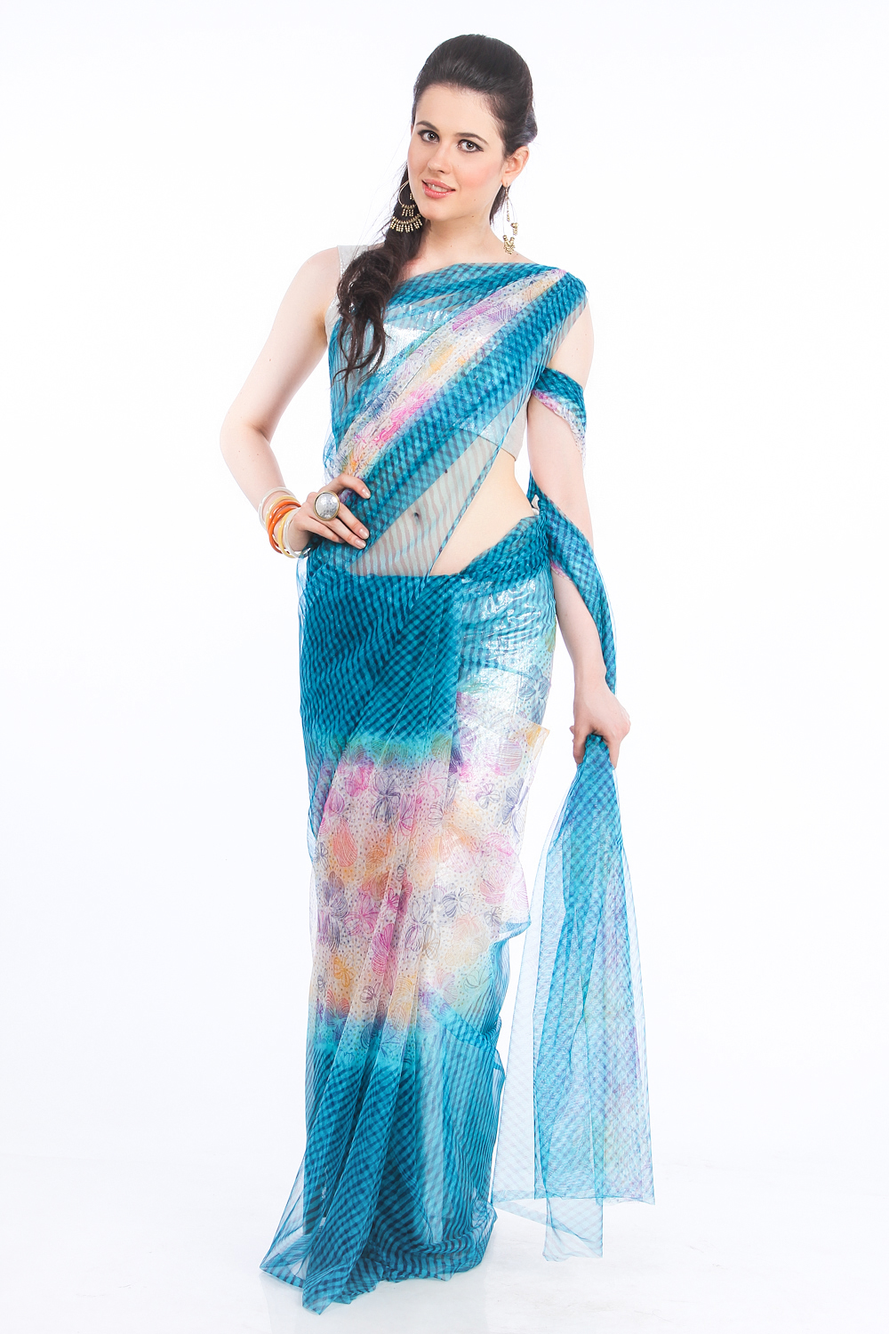 DS Turqoise Net Fabric Floral Print Fashionable Saree
