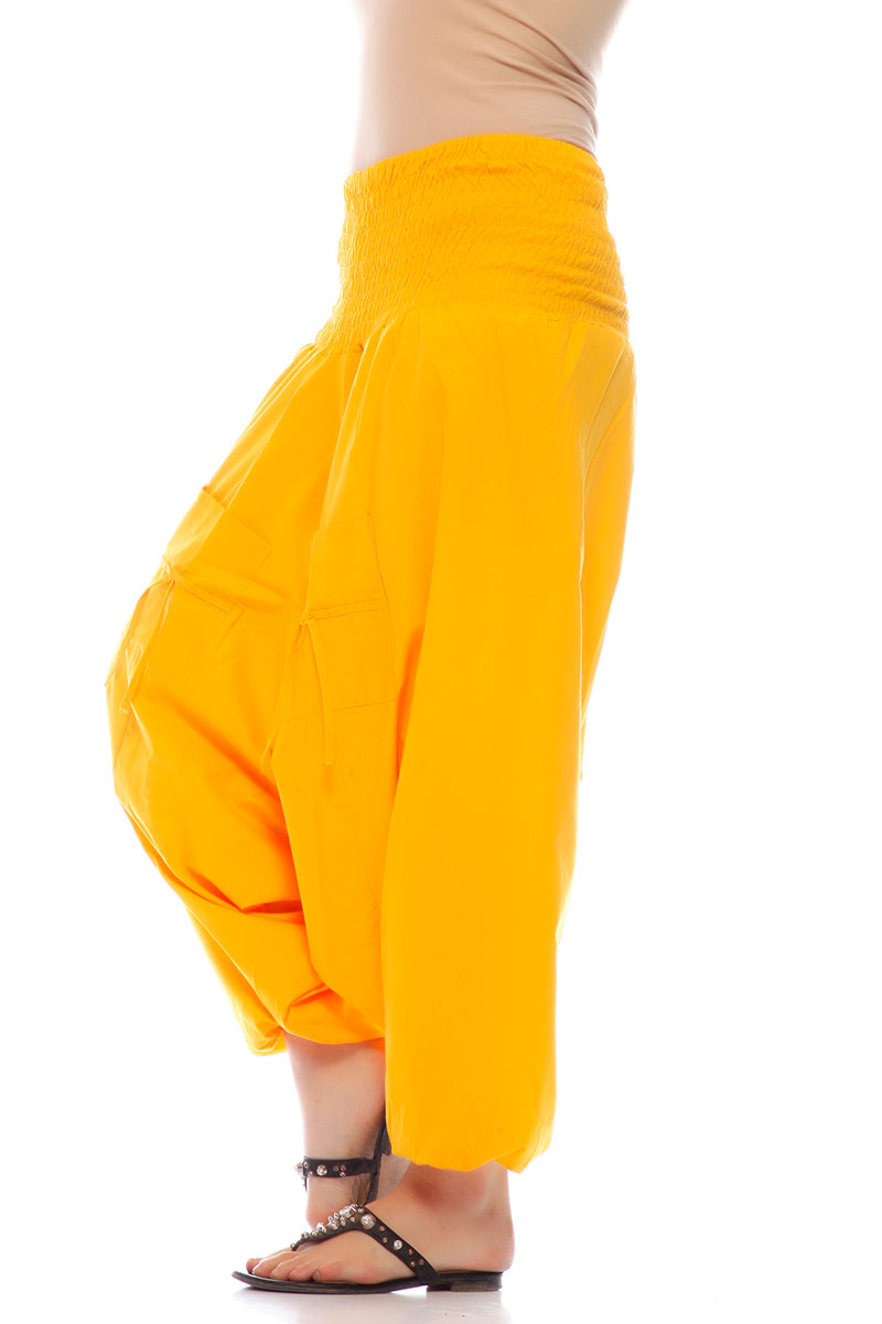 DS Yellow Cotton Lycra Attractive Harem