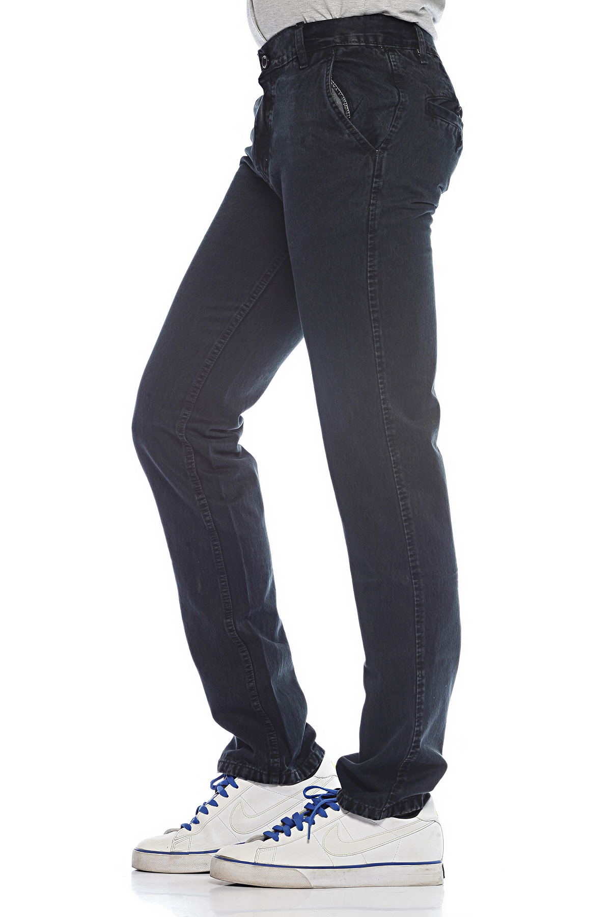 DS Black Cotton Stylish Straight Faded Jeans