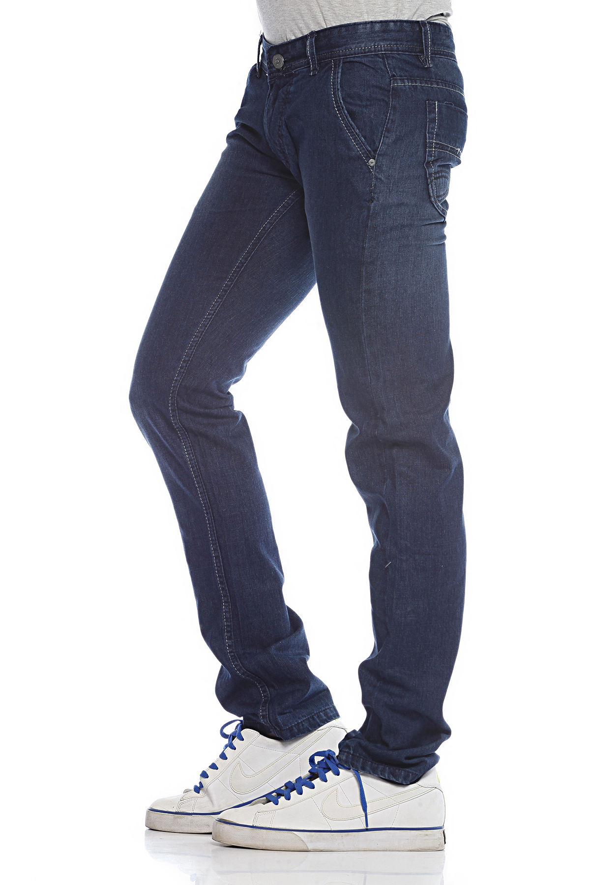 DS Blue Fashionable Slim Fit Faded Jeans